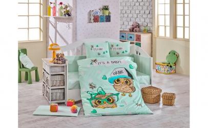 Lenjerie pat pentru copii -color mint