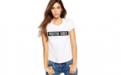 Tricou dama alb  - Positive Vibes