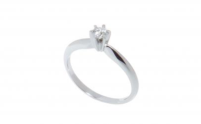 Inel aur alb 18 K, diamant 0.20 ct