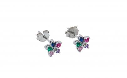 Cercei din argint, zirconii multicolore
