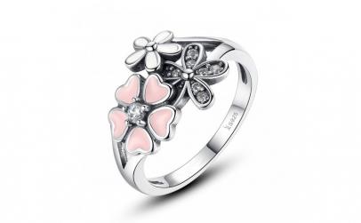 Inel argint 925 cu floricele si