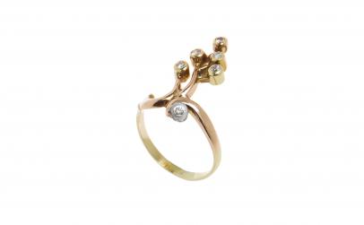 Inel - Crenguta din aur cu diamante