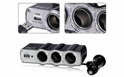 Modulator FM Bluetooth+Priza tripla USB