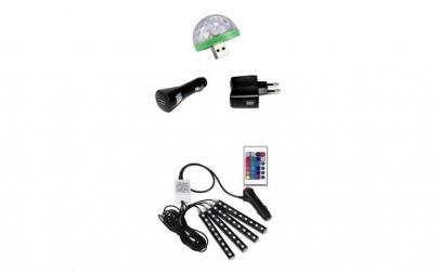 Mini bec cu adaptoare + banda led auto