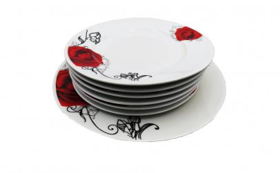 Set 7 piese ceramica, trandafir