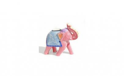 Suport lumanare Elefant, lemn pictat
