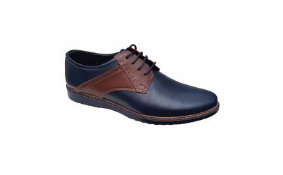 Pantofi piele naturala bleumarin-maro