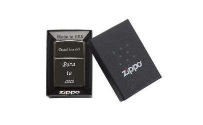 Bricheta Zippo black personalizata cu