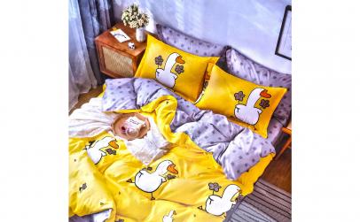 Lenjerie bumbac 6 piese galben cu rate