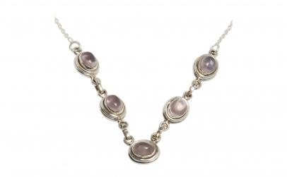 Colier din argint cu pietre de cuart roz