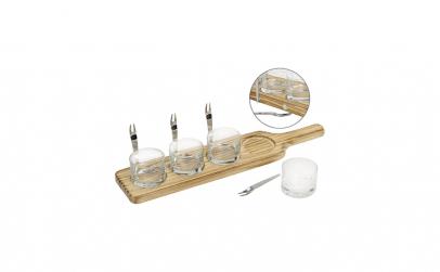 Set servire placa din lemn cu 4 pahare