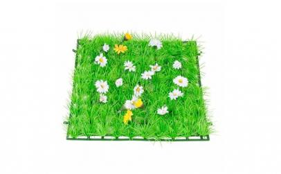 Covor sintetic de iarba verde cu flori