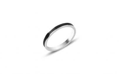 Inel argint cu email negru 2 mm  placat