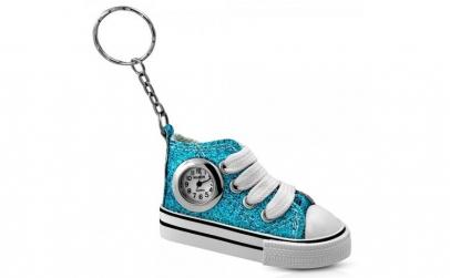 Breloc chei bascheti bleu cu ceas