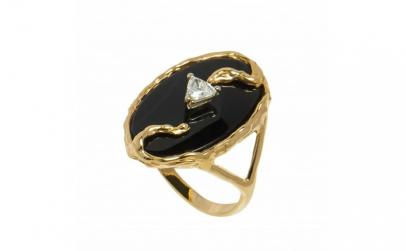 Inel din aur 14K cu onix si diamant