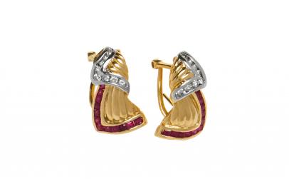 Cercei aur 14K cu rubine si diamante