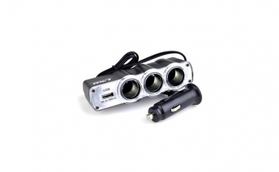 Priza tripla + USB pentru bricheta auto