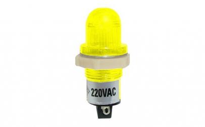 Indicator cu bec, 220V, 20x43mm, galben