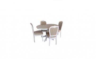 Masa ovala cu 4 scaune, 90x75x90,