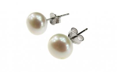 Cercei argint cu perle de cultura albe