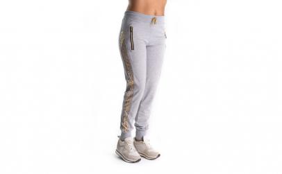 Pantaloni Trening Gri Cu Dunga Aurie