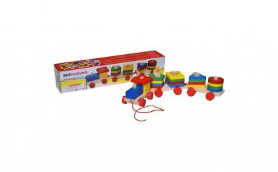 Trenulet lemn Montessori 4 coloane de