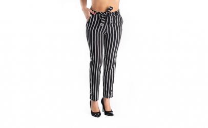 Pantaloni Negri cu Dungi Albe Hazel 40