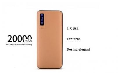 Baterie externa 20 000 mah design piele