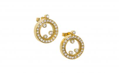 Cercei model Chopard aur 18K cu diamante