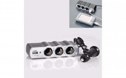 Priza Bricheta auto tripla cu USB