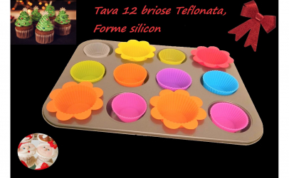 Tava Briose cu 12 forme de silicon