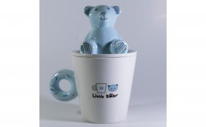 Cana cu capac,model Urs, Albastru, 300ml