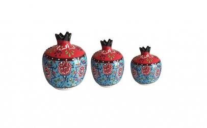 Set 3 bibelou stil ottoman din ceramica,