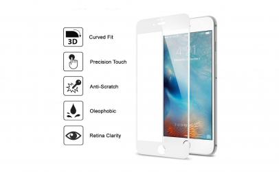 Folie sticla Iphone 7/8 Plus Alb