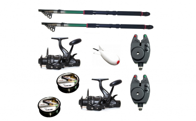 Kit pescuit sportiv cu doua lansete 3,6m
