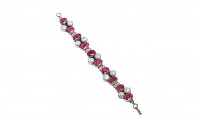 Bratara din argint cu perla si rubin