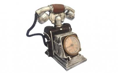 Pusculita - telefon retro cu ceas 15x19