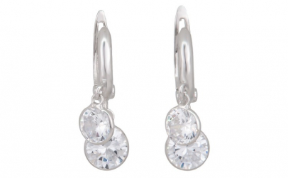 Cercei argint 925 Double Crystal