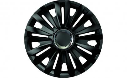 Set capace roti 15` negre cu inel cromat