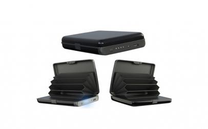Portofel anti-scanare cu acumulator