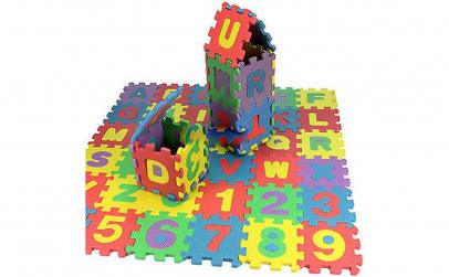 Covoras puzzle alfabet + cifre, 36 piese