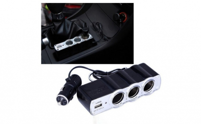 Brichetapriza tripla auto cu USB