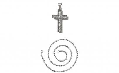 Lant cu pandantiv cruce dubla