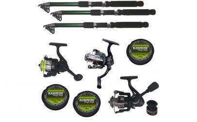 Set pescuit sportiv cu 3 lansete