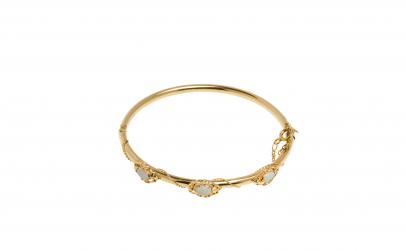 Bratara fixa din aur galben 14K cu Opale