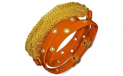 Bratra piele portocalie cu accesorii