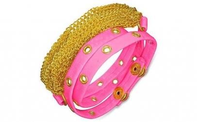 Bratra piele roz cu accesorii aurii