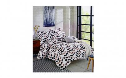 Lenjerie de pat bumbac maro - negru