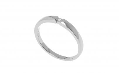 Inel de logodna aur alb 14K, diamant