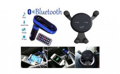 Suport telefon Smiley + Modulator auto